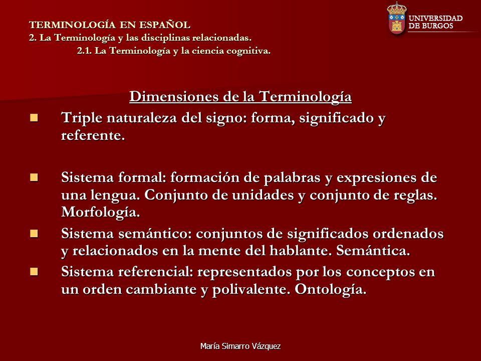 María Simarro Vázquez TERMINOLOGÍA EN ESPAÑOL 2. La Terminología y las disciplinas relacionadas. 2.1. La Terminología y la ciencia cognitiva. Dimensio