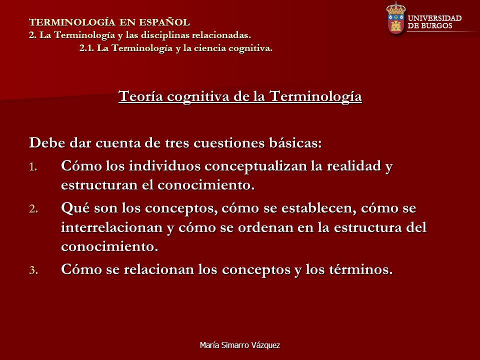 María Simarro Vázquez TERMINOLOGÍA EN ESPAÑOL 2. La Terminología y las disciplinas relacionadas. 2.1. La Terminología y la ciencia cognitiva. Teoría c