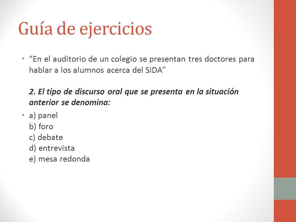 Guía de ejercicios En el auditorio de un colegio se presentan tres doctores para hablar a los alumnos acerca del SIDA 2. El tipo de discurso oral que