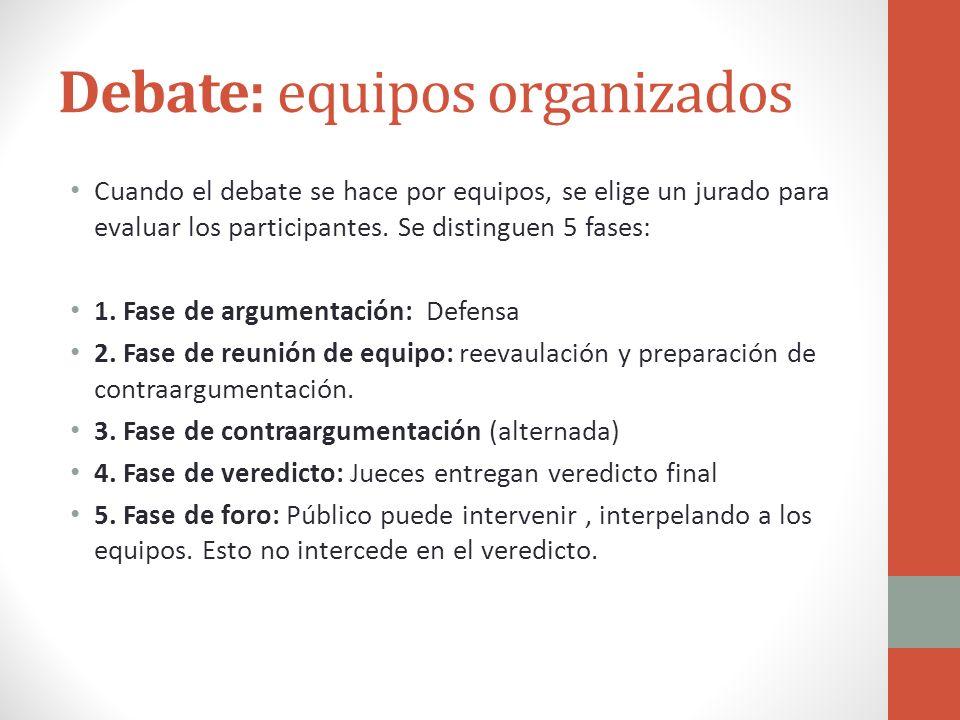 Debate: equipos organizados Cuando el debate se hace por equipos, se elige un jurado para evaluar los participantes. Se distinguen 5 fases: 1. Fase de