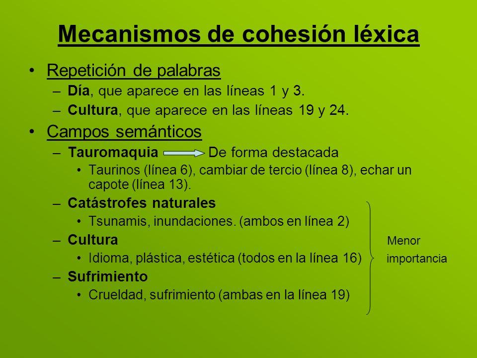 Mecanismos de cohesión léxica Repetición de palabras –Día, que aparece en las líneas 1 y 3. –Cultura, que aparece en las líneas 19 y 24. Campos semánt