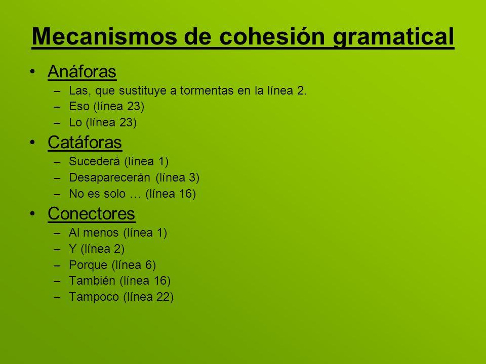 Mecanismos de cohesión gramatical Anáforas –Las, que sustituye a tormentas en la línea 2. –Eso (línea 23) –Lo (línea 23) Catáforas –Sucederá (línea 1)