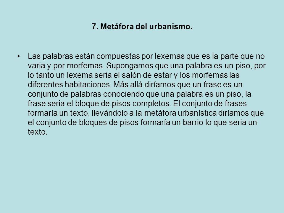 7. Metáfora del urbanismo. Las palabras están compuestas por lexemas que es la parte que no varia y por morfemas. Supongamos que una palabra es un pis