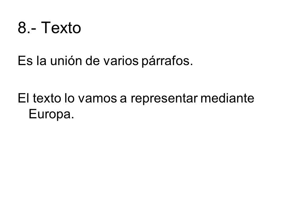 8.- Texto Es la unión de varios párrafos. El texto lo vamos a representar mediante Europa.