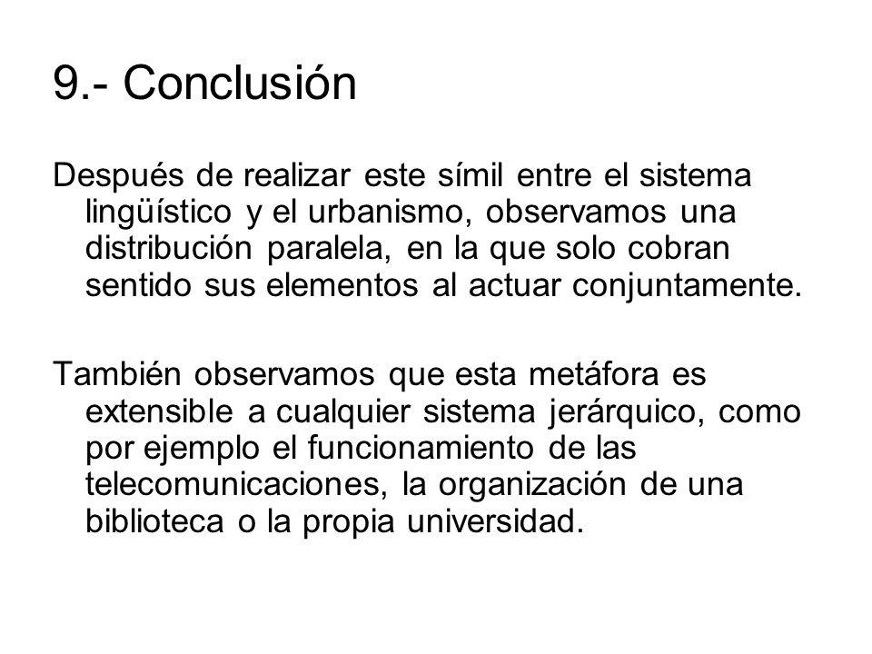 9.- Conclusión Después de realizar este símil entre el sistema lingüístico y el urbanismo, observamos una distribución paralela, en la que solo cobran