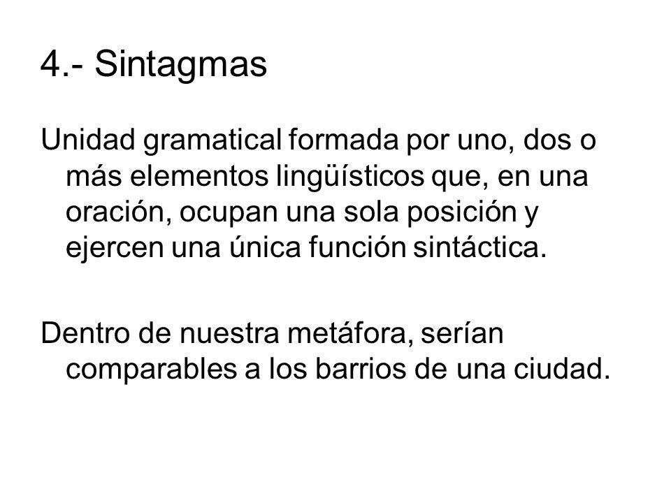 4.- Sintagmas Unidad gramatical formada por uno, dos o más elementos lingüísticos que, en una oración, ocupan una sola posición y ejercen una única fu