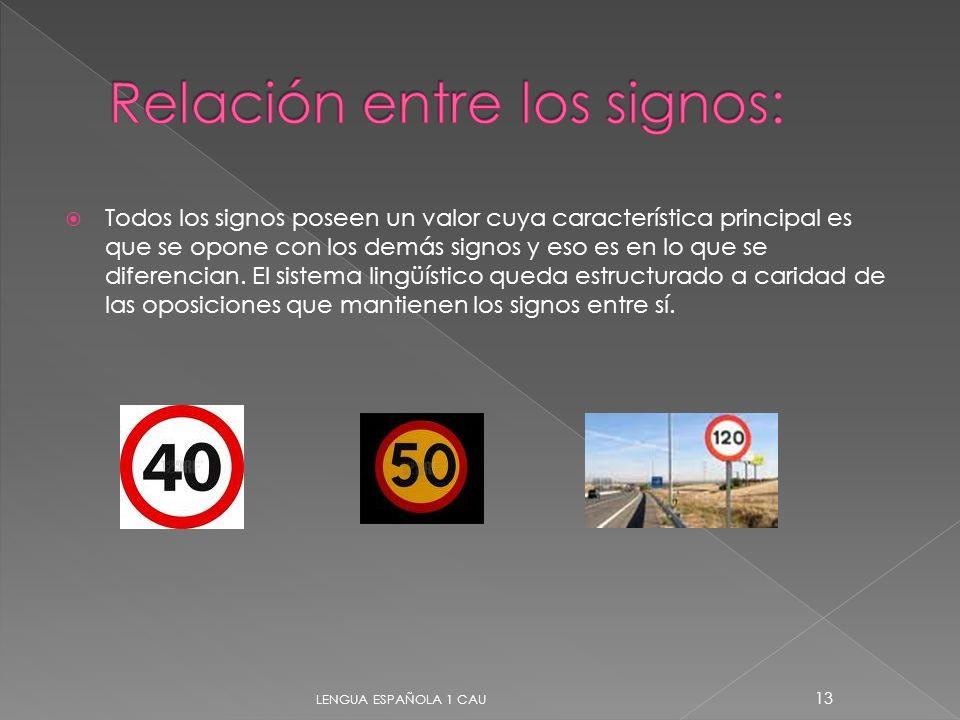 Todos los signos poseen un valor cuya característica principal es que se opone con los demás signos y eso es en lo que se diferencian. El sistema ling