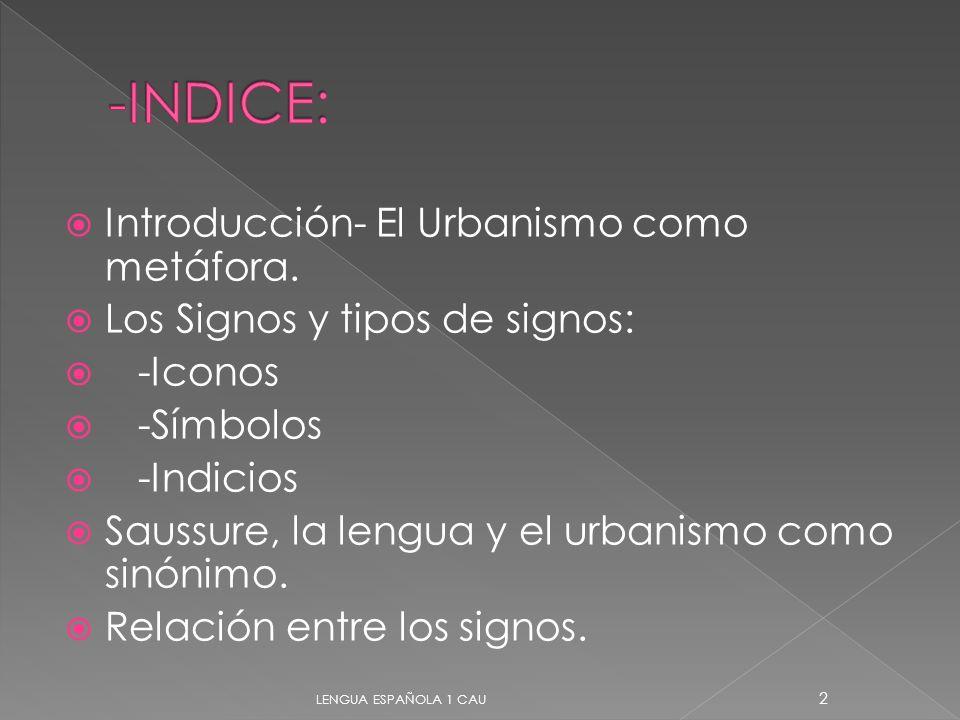 Introducción- El Urbanismo como metáfora. Los Signos y tipos de signos: -Iconos -Símbolos -Indicios Saussure, la lengua y el urbanismo como sinónimo.