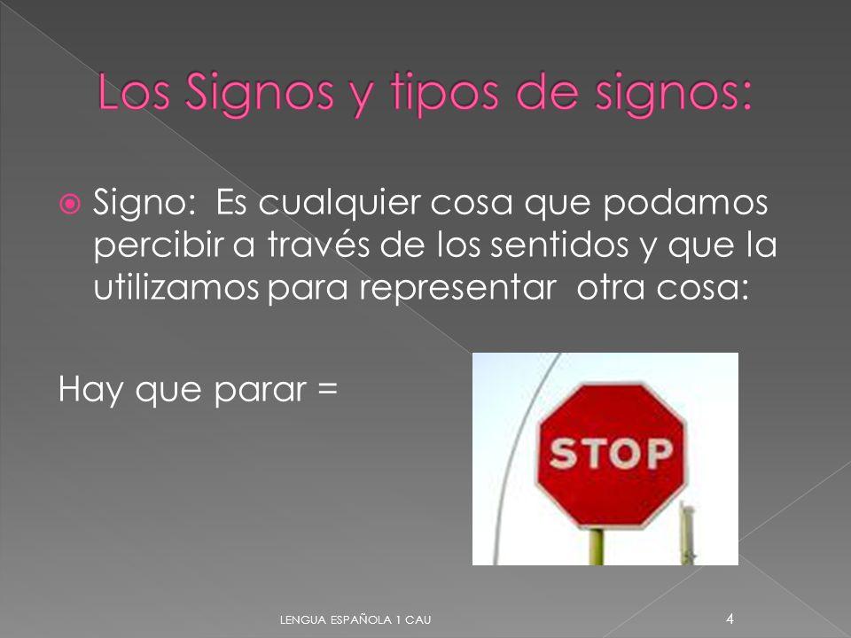 Signo: Es cualquier cosa que podamos percibir a través de los sentidos y que la utilizamos para representar otra cosa: Hay que parar = 4 LENGUA ESPAÑO