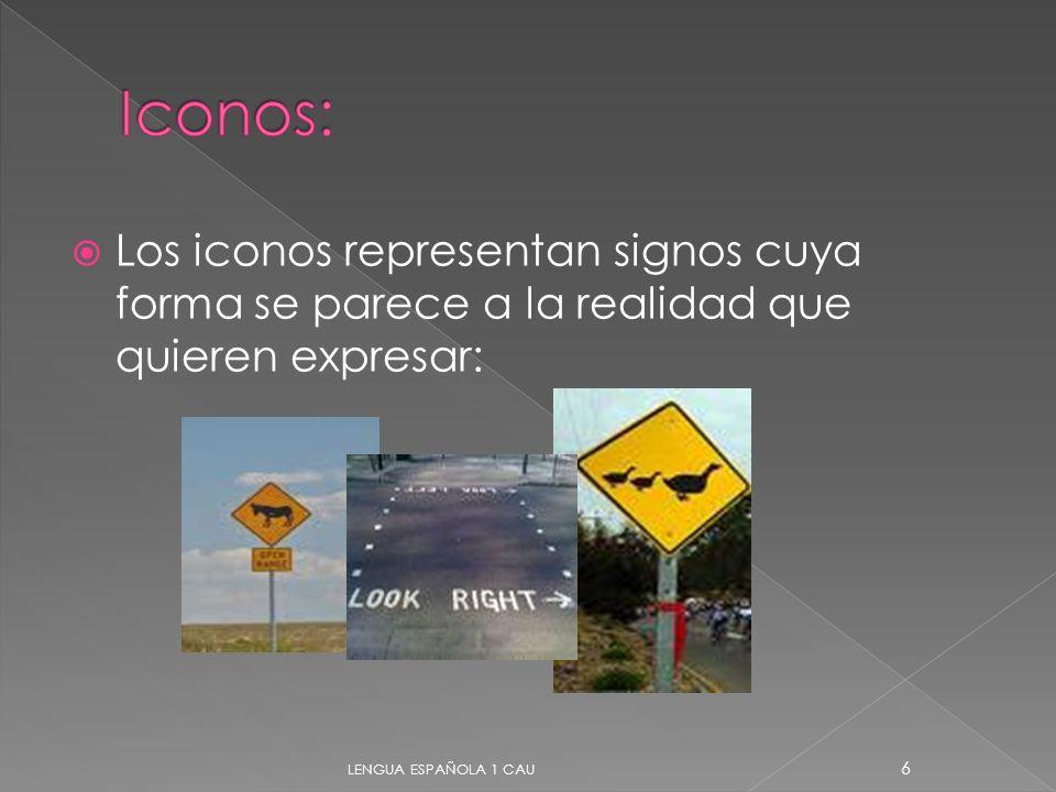 Los iconos representan signos cuya forma se parece a la realidad que quieren expresar: 6 LENGUA ESPAÑOLA 1 CAU