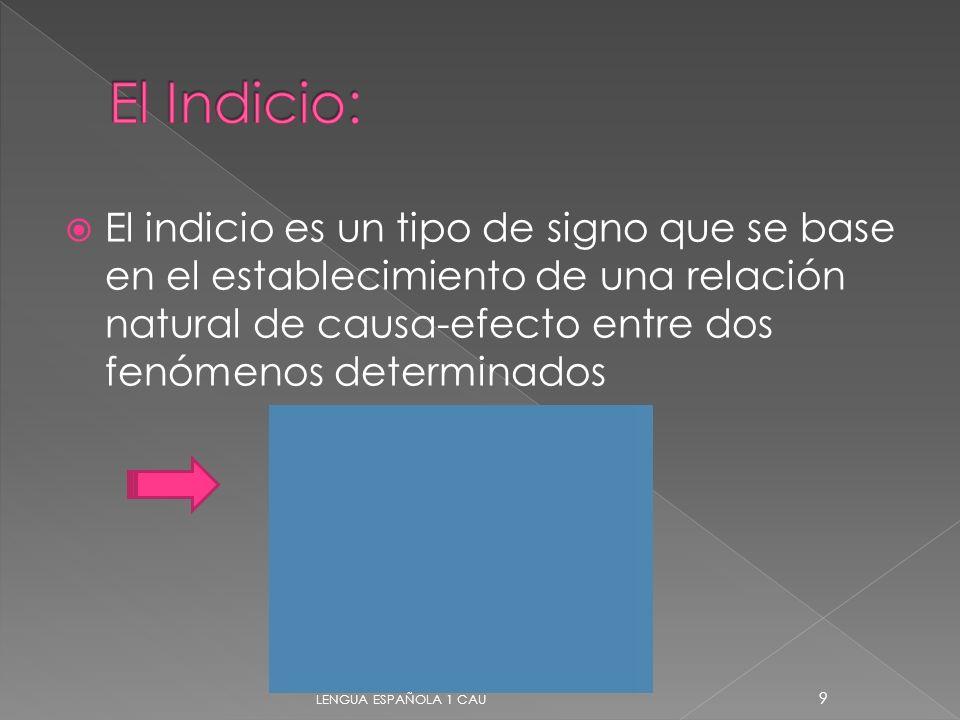 El indicio es un tipo de signo que se base en el establecimiento de una relación natural de causa-efecto entre dos fenómenos determinados 9 LENGUA ESP