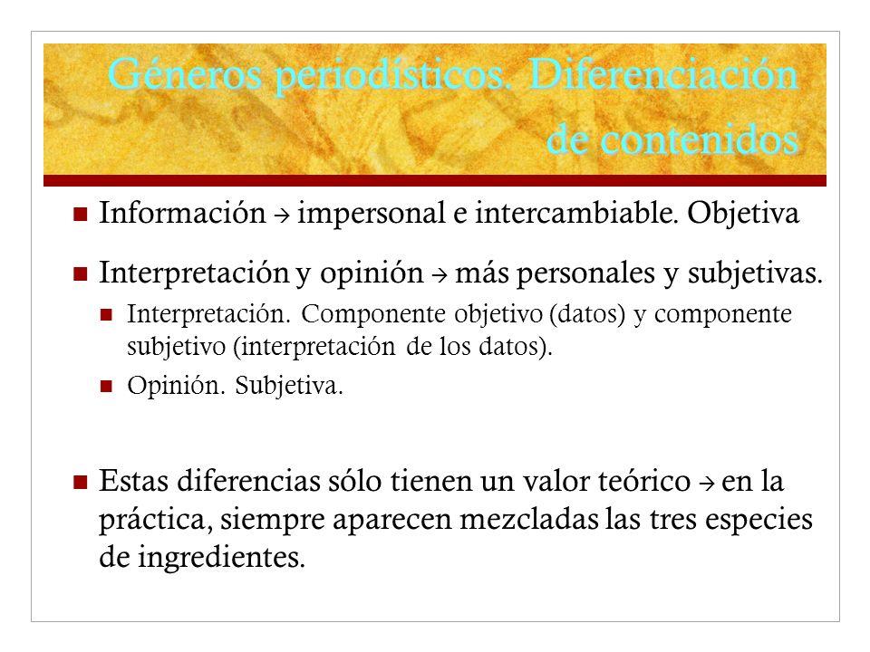 Géneros periodísticos. Diferenciación de contenidos Información impersonal e intercambiable. Objetiva Interpretación y opinión más personales y subjet