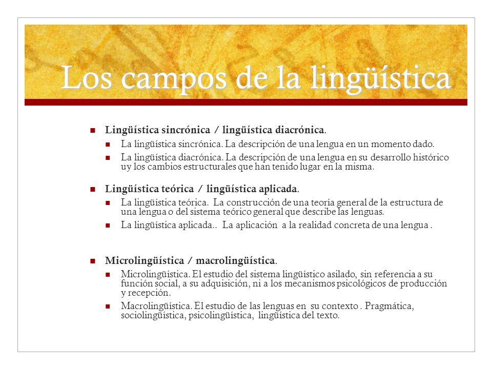 Los campos de la lingüística Lingüística sincrónica / lingüística diacrónica. La lingüística sincrónica. La descripción de una lengua en un momento da