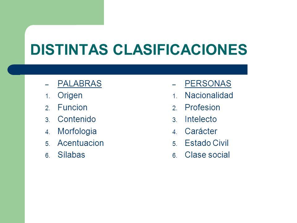 DISTINTAS CLASIFICACIONES – PALABRAS 1. Origen 2. Funcion 3. Contenido 4. Morfologia 5. Acentuacion 6. Sílabas – PERSONAS 1. Nacionalidad 2. Profesion