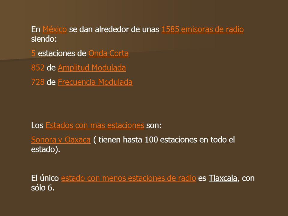 En México se dan alrededor de unas 1585 emisoras de radio, siendo: 5 estaciones de Onda Corta. 852 de Amplitud Modulada. 728 de Frecuencia Modulada. L