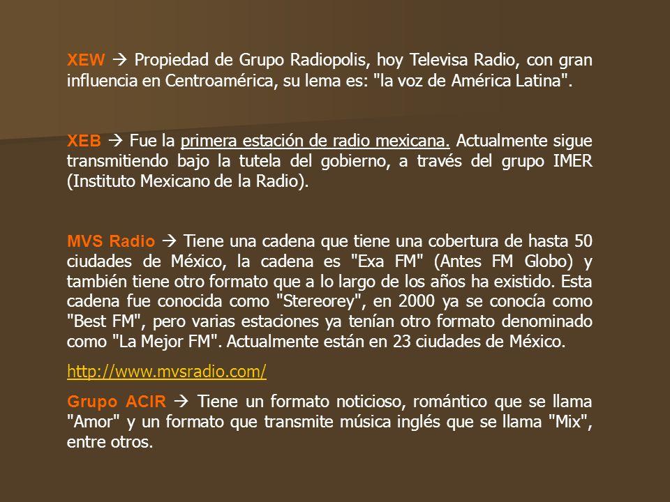 XEW Propiedad de Grupo Radiopolis, hoy Televisa Radio, con gran influencia en Centroamérica, su lema es: