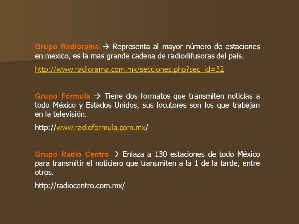 Grupo Radiorama Representa al mayor número de estaciones en mexico, es la mas grande cadena de radiodifusoras del país. http://www.radiorama.com.mx/se