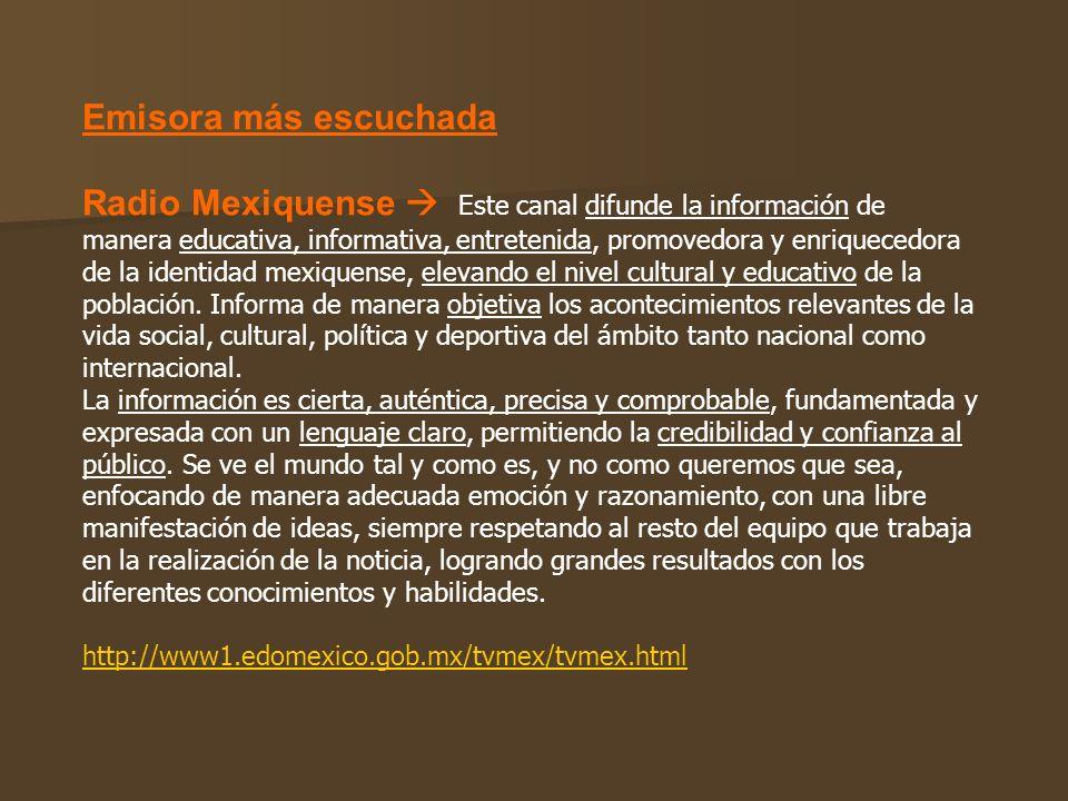 Emisora más escuchada Radio Mexiquense Este canal difunde la información de manera educativa, informativa, entretenida, promovedora y enriquecedora de