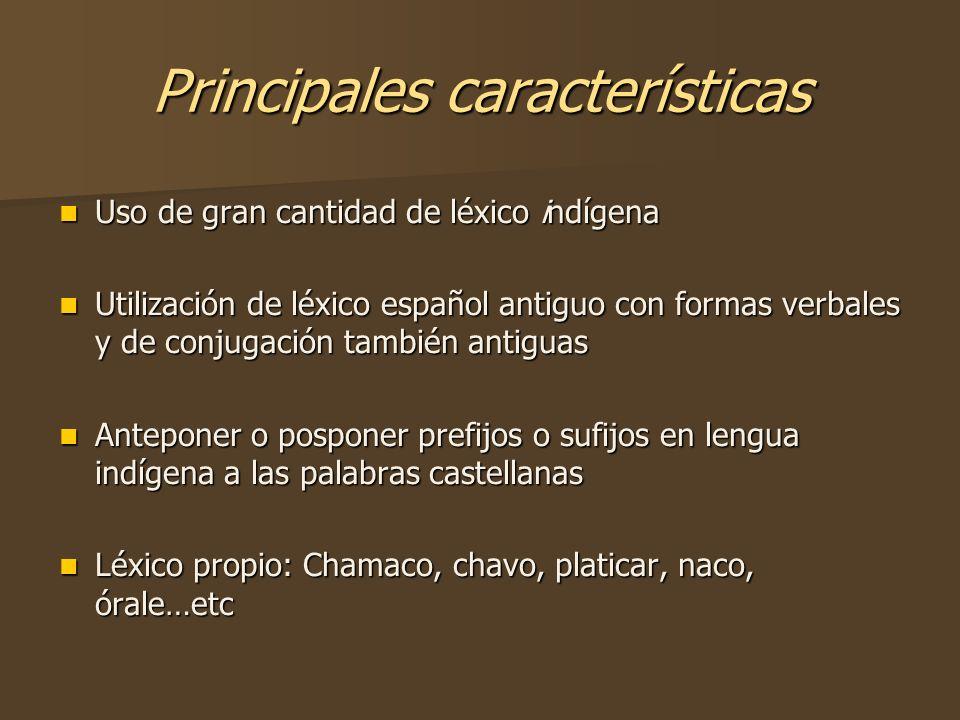 Principales características Uso de gran cantidad de léxico indígena Uso de gran cantidad de léxico indígena Utilización de léxico español antiguo con