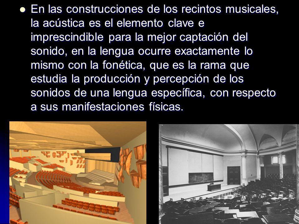 En las construcciones de los recintos musicales, la acústica es el elemento clave e imprescindible para la mejor captación del sonido, en la lengua oc