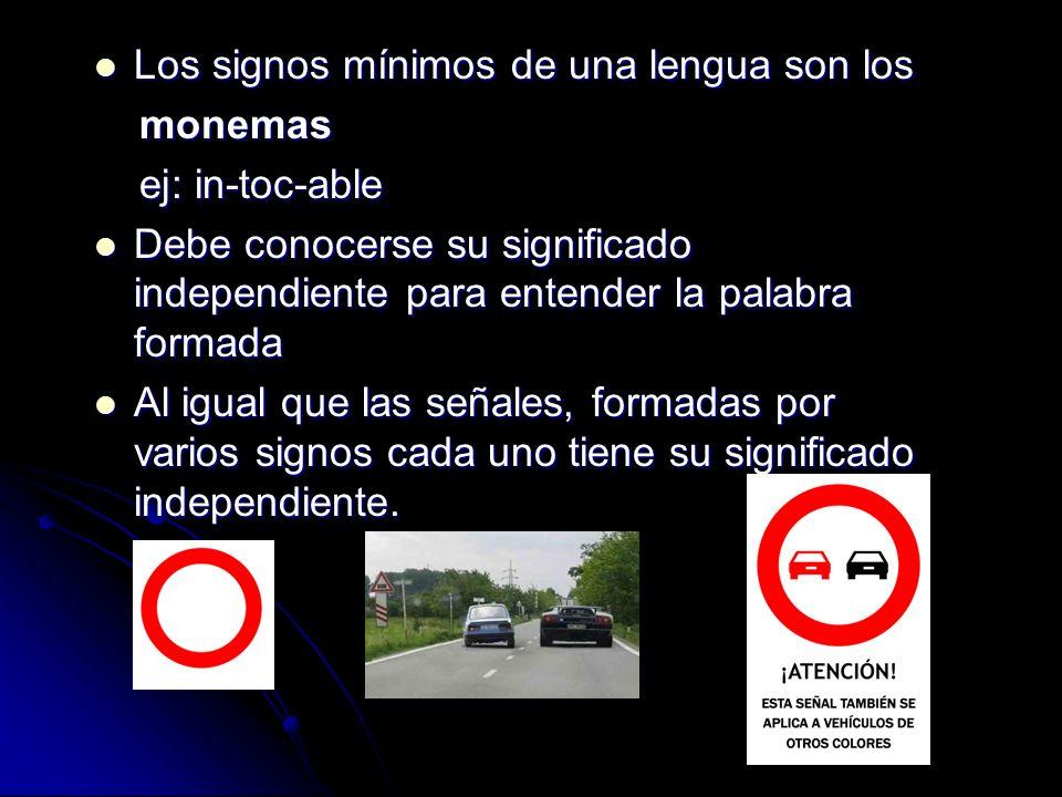 Los signos mínimos de una lengua son los Los signos mínimos de una lengua son los monemas monemas ej: in-toc-able ej: in-toc-able Debe conocerse su si