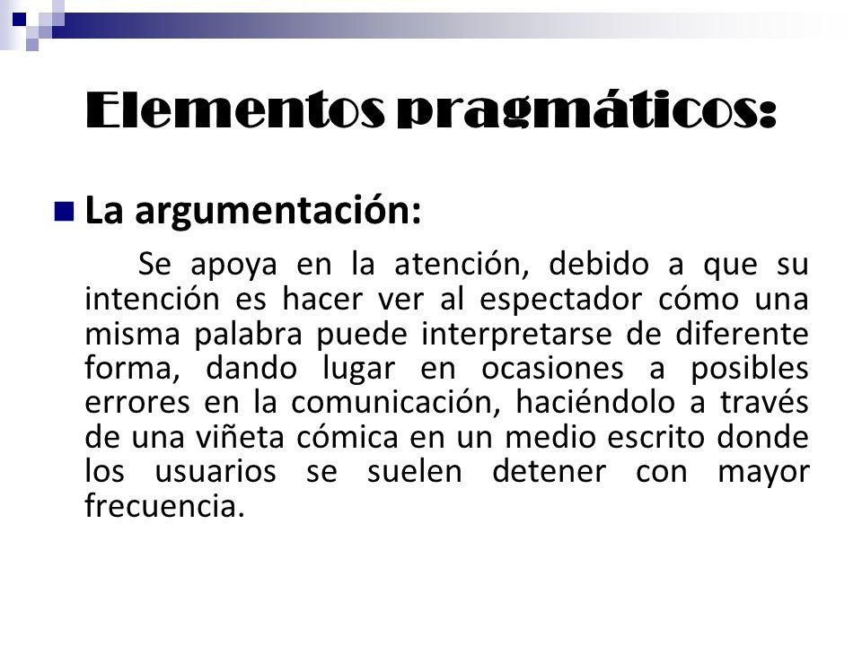 Elementos pragmáticos: La argumentación: Se apoya en la atención, debido a que su intención es hacer ver al espectador cómo una misma palabra puede in