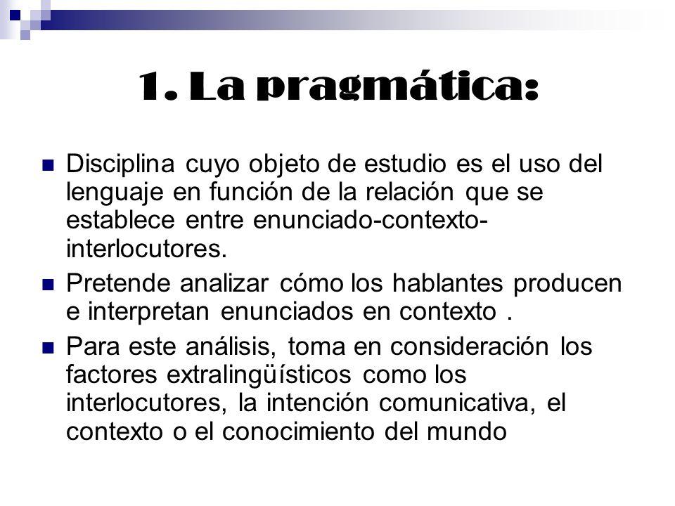 1. La pragmática: Disciplina cuyo objeto de estudio es el uso del lenguaje en función de la relación que se establece entre enunciado-contexto- interl