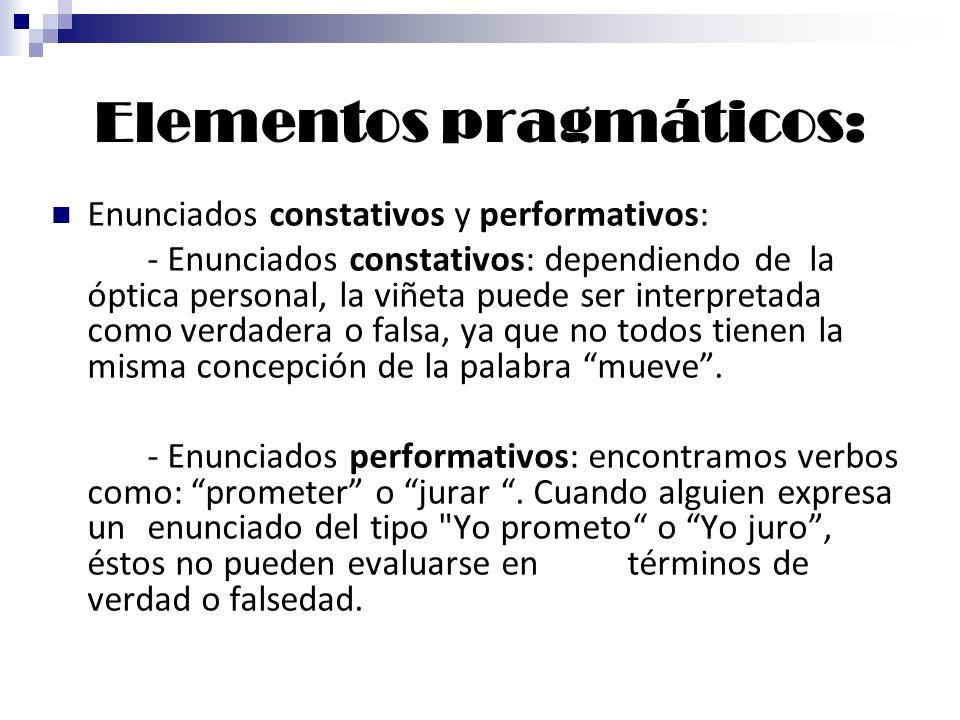 Elementos pragmáticos: Enunciados constativos y performativos: - Enunciados constativos: dependiendo de la óptica personal, la viñeta puede ser interp