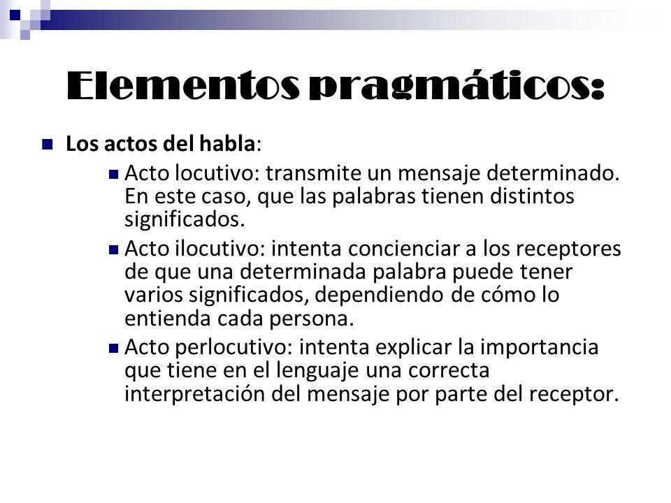 Elementos pragmáticos: Los actos del habla: Acto locutivo: transmite un mensaje determinado. En este caso, que las palabras tienen distintos significa