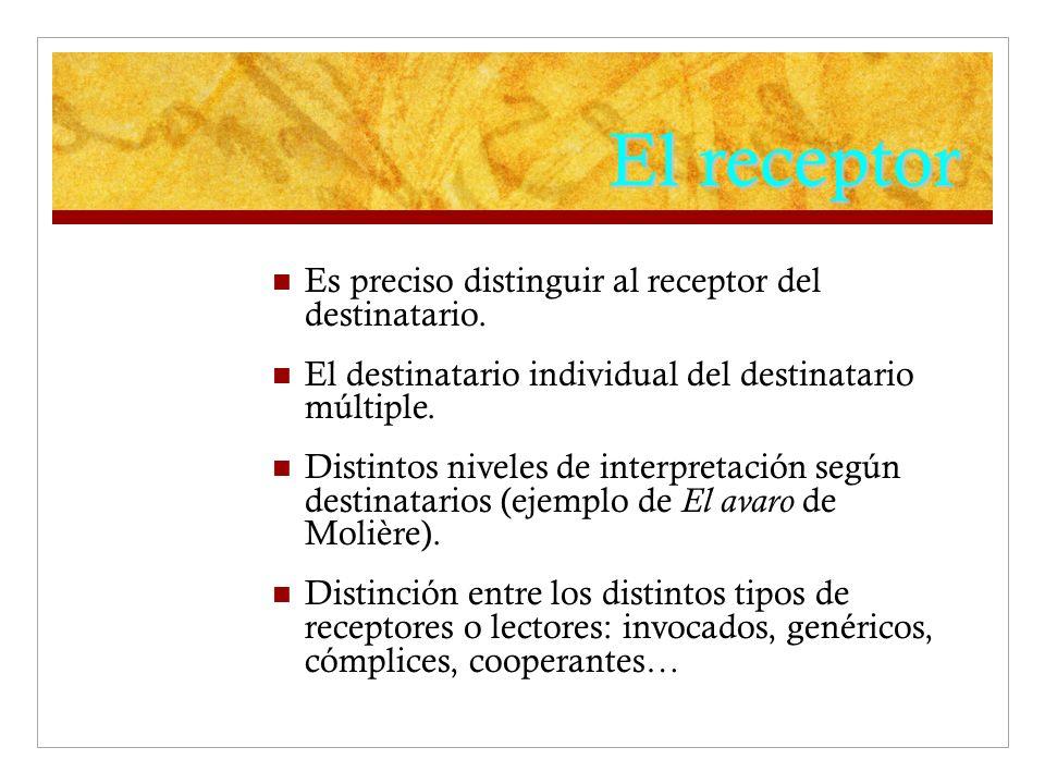 El receptor Es preciso distinguir al receptor del destinatario. El destinatario individual del destinatario múltiple. Distintos niveles de interpretac