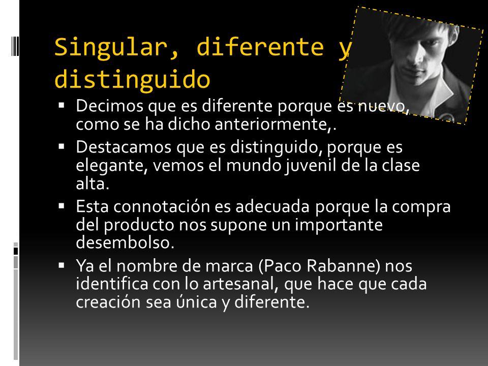 Singular, diferente y distinguido Decimos que es diferente porque es nuevo, como se ha dicho anteriormente,. Destacamos que es distinguido, porque es