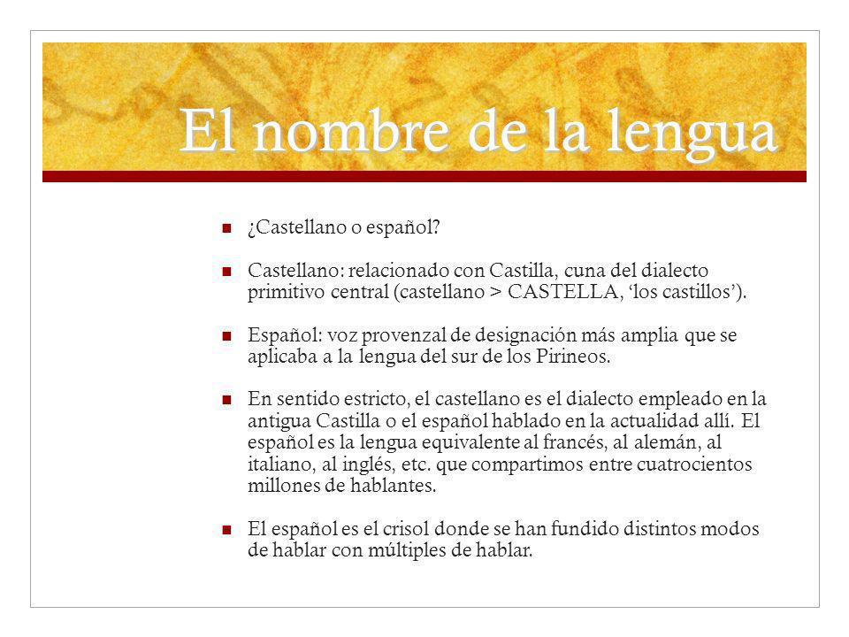 El nombre de la lengua ¿Castellano o español? Castellano: relacionado con Castilla, cuna del dialecto primitivo central (castellano > CASTELLA, los ca