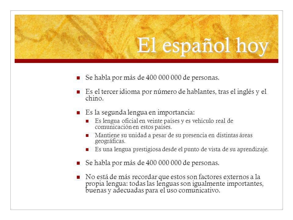 El español hoy Se habla por más de 400 000 000 de personas. Es el tercer idioma por número de hablantes, tras el inglés y el chino. Es la segunda leng