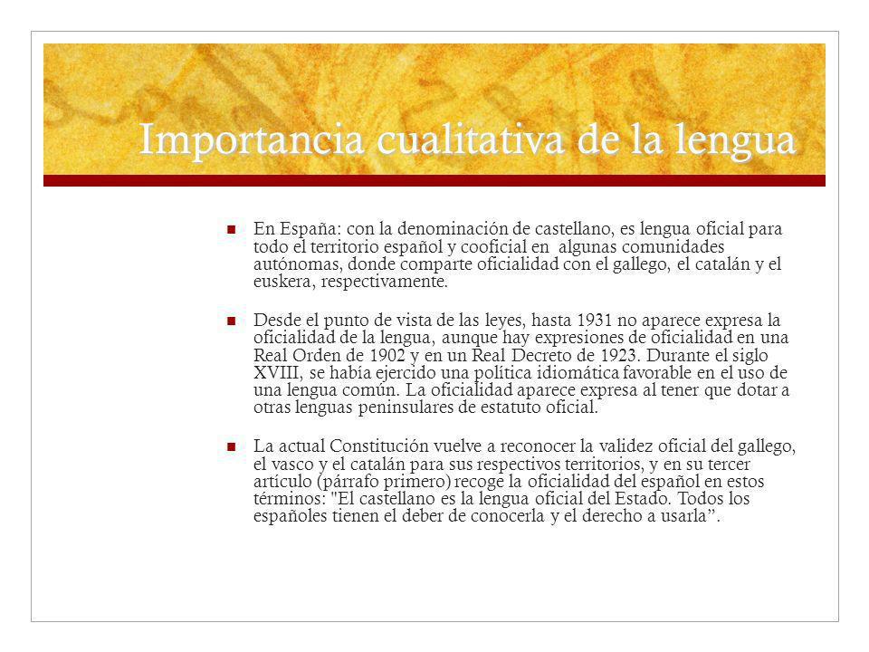 Importancia cualitativa de la lengua En España: con la denominación de castellano, es lengua oficial para todo el territorio español y cooficial en al