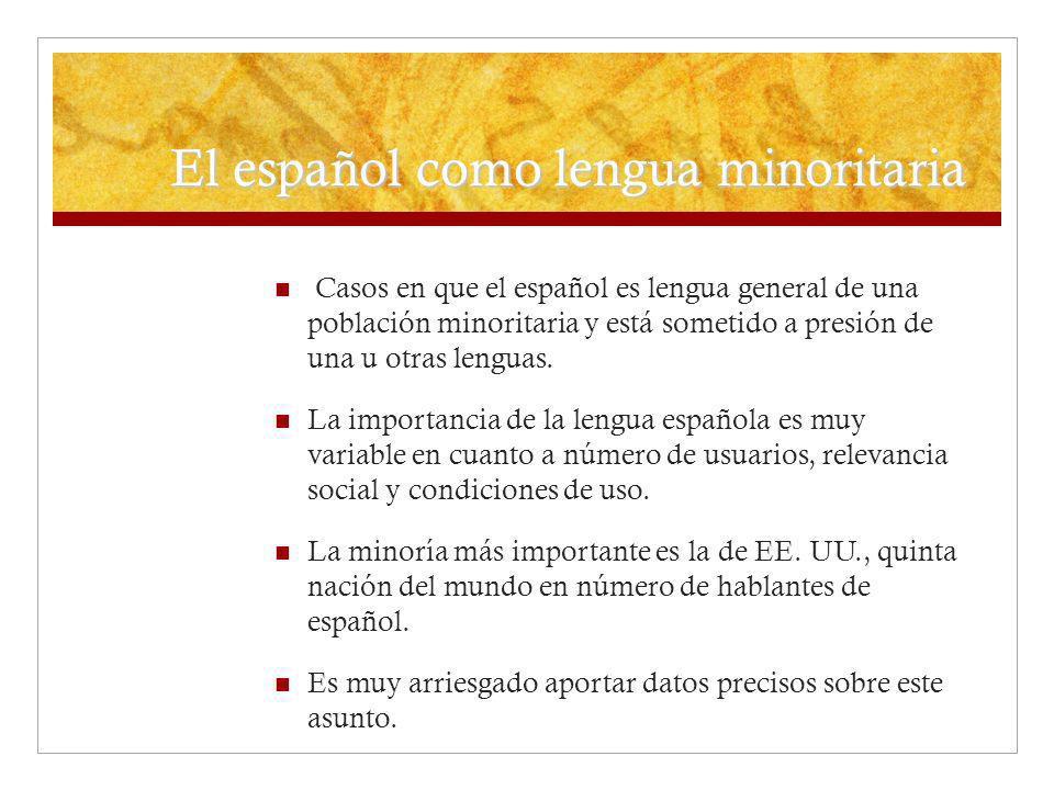 El español como lengua minoritaria Casos en que el español es lengua general de una población minoritaria y está sometido a presión de una u otras len