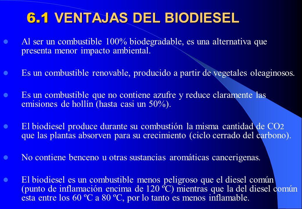 6.1 VENTAJAS DEL BIODIESEL Al ser un combustible 100% biodegradable, es una alternativa que presenta menor impacto ambiental. Es un combustible renova