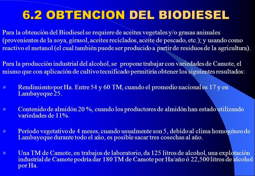 6.2 OBTENCION DEL BIODIESEL Para la obtención del Biodiesel se requiere de aceites vegetales y/o grasas animales (provenientes de la soya, girasol, ac