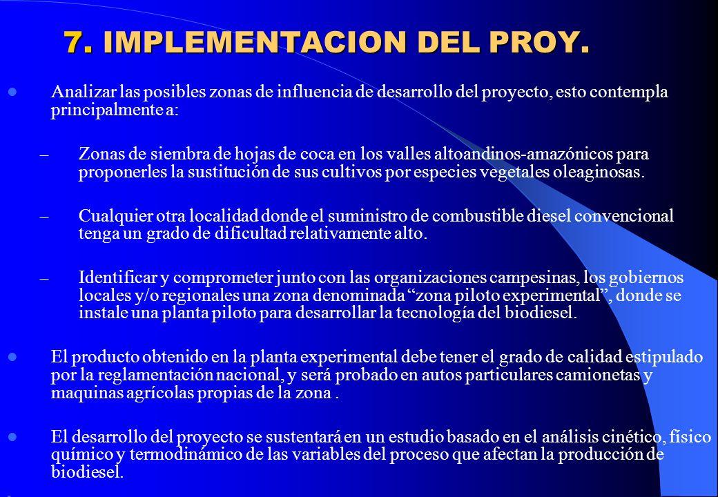 7. IMPLEMENTACION DEL PROY. Analizar las posibles zonas de influencia de desarrollo del proyecto, esto contempla principalmente a: – Zonas de siembra