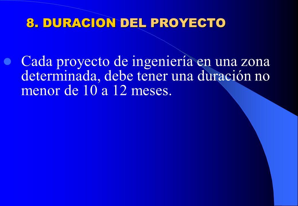 8. DURACION DEL PROYECTO Cada proyecto de ingeniería en una zona determinada, debe tener una duración no menor de 10 a 12 meses.