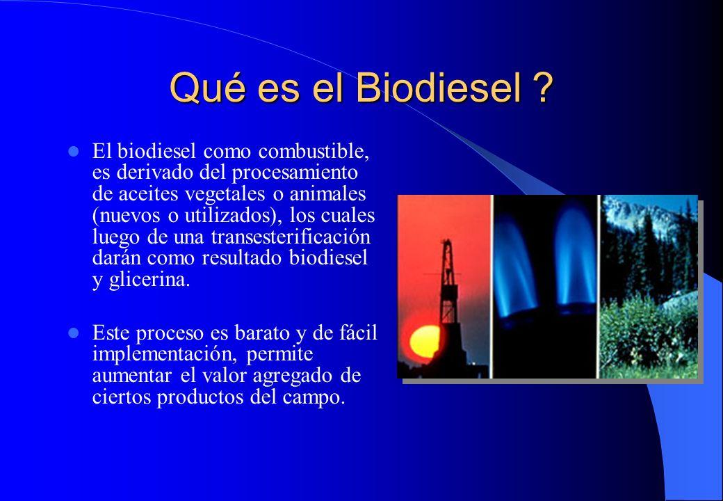 Qué es el Biodiesel ? El biodiesel como combustible, es derivado del procesamiento de aceites vegetales o animales (nuevos o utilizados), los cuales l