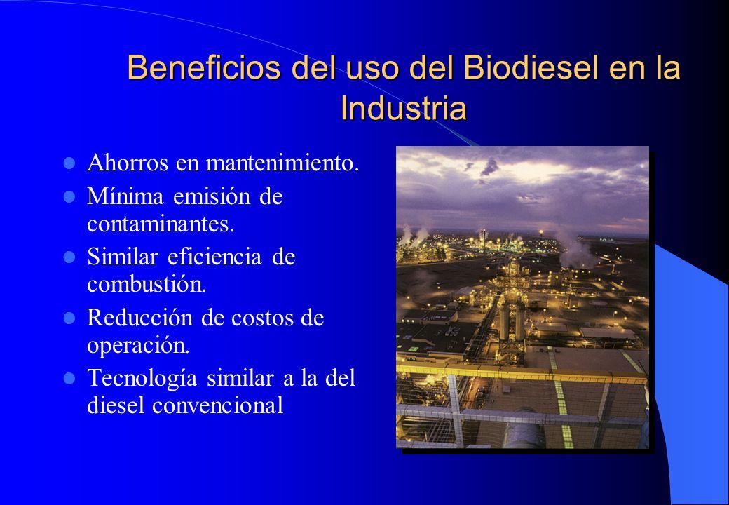 Beneficios del uso del Biodiesel en la Industria Ahorros en mantenimiento. Mínima emisión de contaminantes. Similar eficiencia de combustión. Reducció