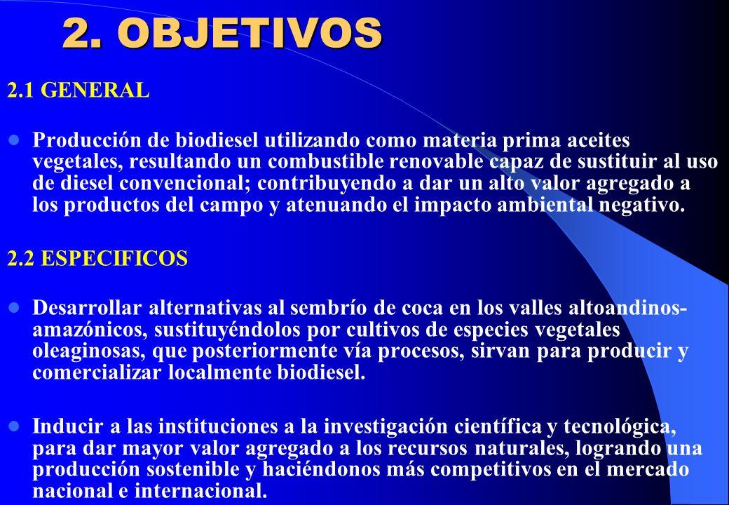 2. OBJETIVOS 2.1 GENERAL Producción de biodiesel utilizando como materia prima aceites vegetales, resultando un combustible renovable capaz de sustitu