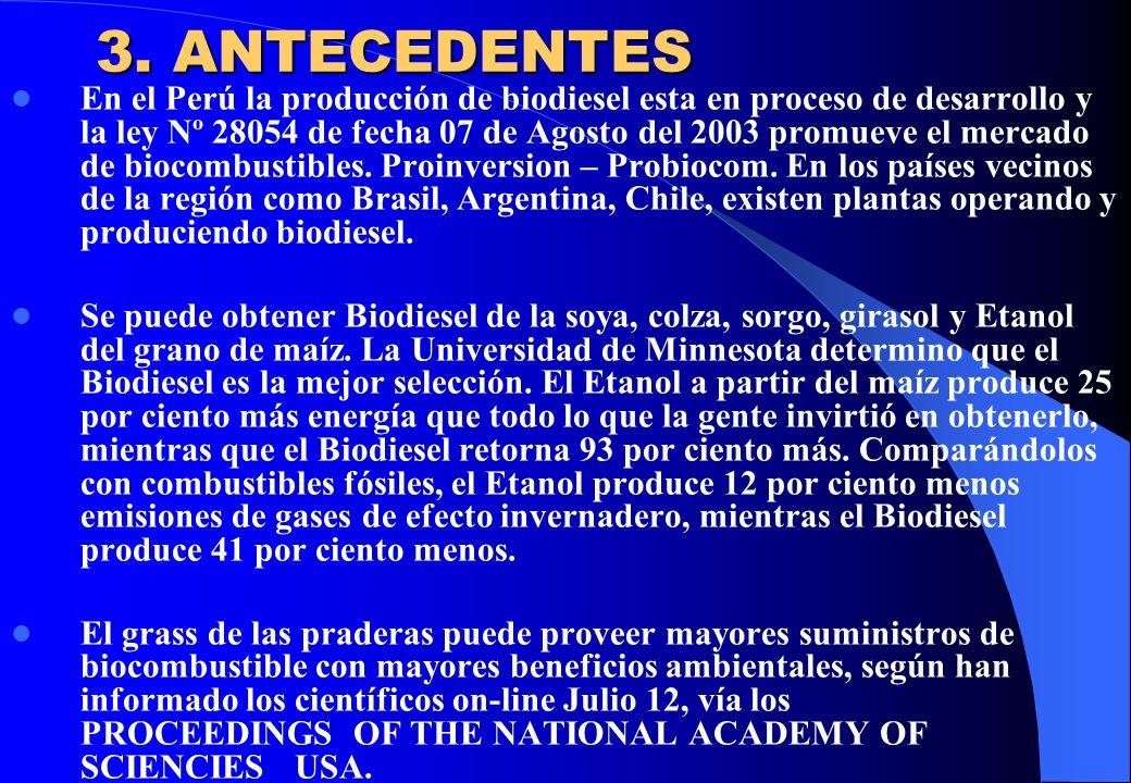 3. ANTECEDENTES En el Perú la producción de biodiesel esta en proceso de desarrollo y la ley Nº 28054 de fecha 07 de Agosto del 2003 promueve el merca