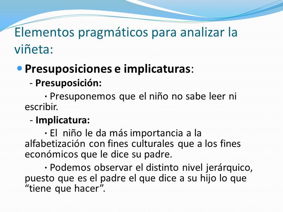 Elementos pragmáticos para analizar la viñeta: Presuposiciones e implicaturas: - Presuposición: · Presuponemos que el niño no sabe leer ni escribir. -