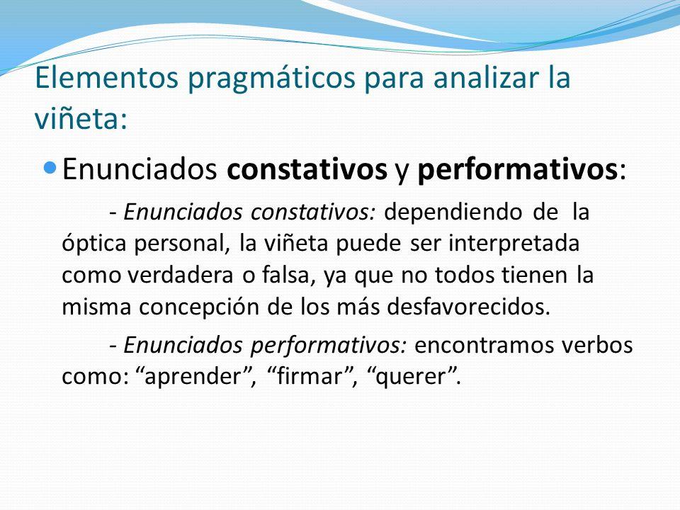 Elementos pragmáticos para analizar la viñeta: Los actos del habla: Acto locutivo, transmite un mensaje determinado.
