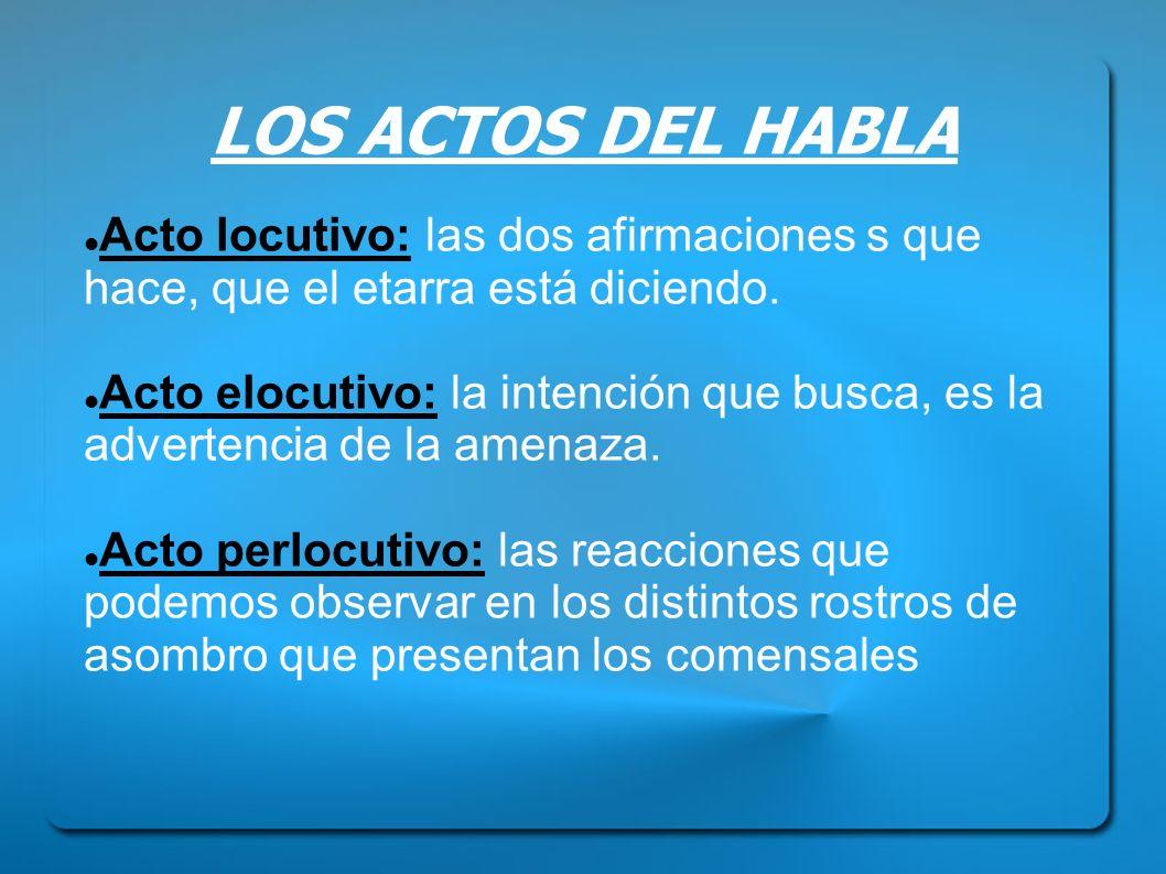 LOS ACTOS DEL HABLA Acto locutivo: las dos afirmaciones s que hace, que el etarra está diciendo. Acto elocutivo: la intención que busca, es la adverte