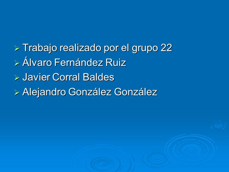 Trabajo realizado por el grupo 22 Trabajo realizado por el grupo 22 Álvaro Fernández Ruiz Álvaro Fernández Ruiz Javier Corral Baldes Javier Corral Baldes Alejandro González González Alejandro González González