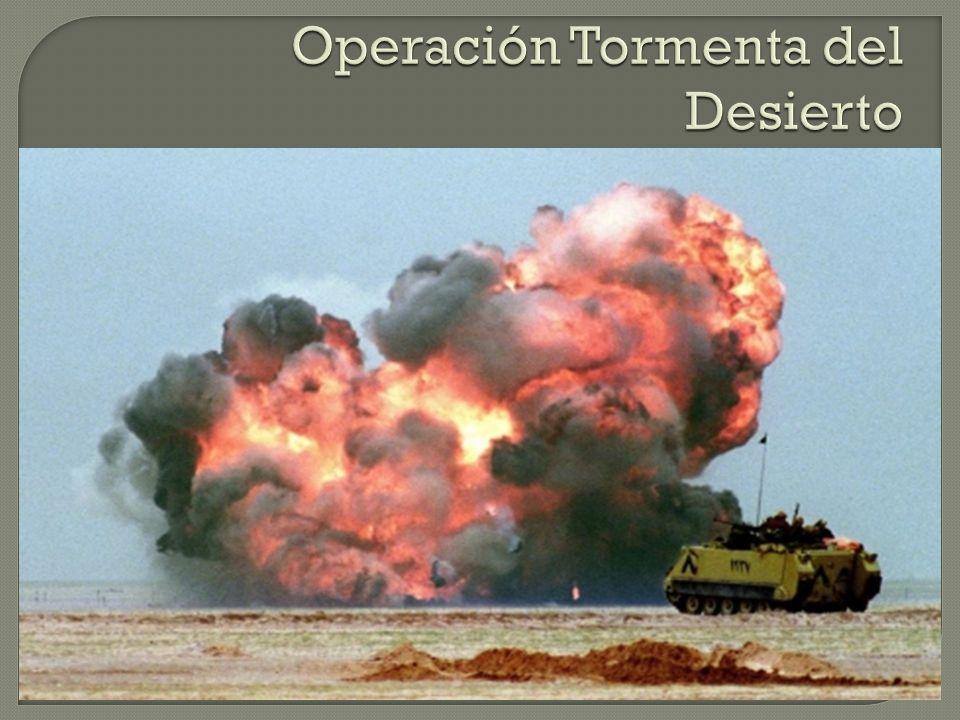 Se vota en el Congreso la intervención de los EEUU para la desocupación de Kuwait. Se lleva a cabo la Operación Tormenta del Desierto a mediados de en