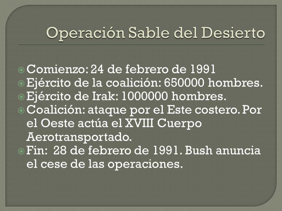 Comienzo: 17 de enero de 1991. Incumplimiento de la resolución nº 678. Ofensiva de la coalición (apoyo de la ONU) para la liberación iraquí del territ