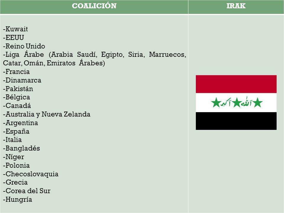 COALICIÓNIRAK -Kuwait -EEUU -Reino Unido -Liga Árabe (Arabia Saudí, Egipto, Siria, Marruecos, Catar, Omán, Emiratos Árabes) -Francia -Dinamarca -Pakistán -Bélgica -Canadá -Australia y Nueva Zelanda -Argentina -España -Italia -Bangladés -Níger -Polonia -Checoslovaquia -Grecia -Corea del Sur -Hungría